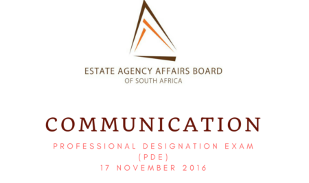 ALL CANDIDATES THAT WROTE THE PROFESSIONAL DESIGNATION EXAM (PDE) ON 17 NOVEMBER 2016